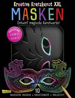 Kreative Kratzkunst XXL: Masken: Set mit 10 Kratz-Masken, Anleitungsbuch und Holzstift von Poitier,  Anton