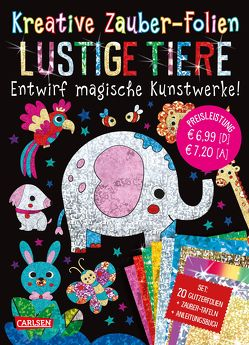 Kreative Zauber-Folien: Lustige Tiere: Set mit 10 Zaubertafeln, 20 Glitzerfolien und Anleitungsbuch von Poitier,  Anton
