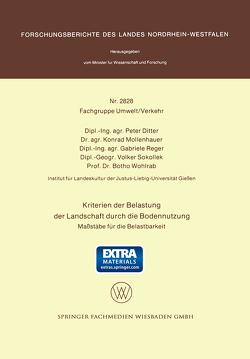 Kriterien der Belastung der Landschaft durch die Bodennutzung von Ditter,  Peter