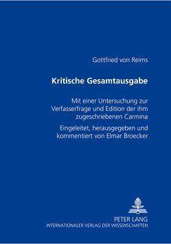 Kritische Gesamtausgabe von Broecker,  Elmar