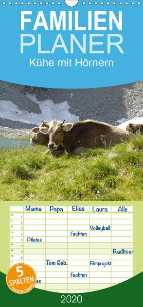 Kühe mit Hörnern – Familienplaner hoch (Wandkalender 2020 , 21 cm x 45 cm, hoch) von Goldscheider,  Stefanie