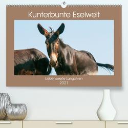 Kunterbunte Eselwelt – Liebenswerte Langohren (Premium, hochwertiger DIN A2 Wandkalender 2021, Kunstdruck in Hochglanz) von Bölts,  Meike