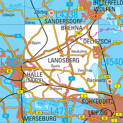 L4538 Landsberg Topopgraphische Karte 1:50000