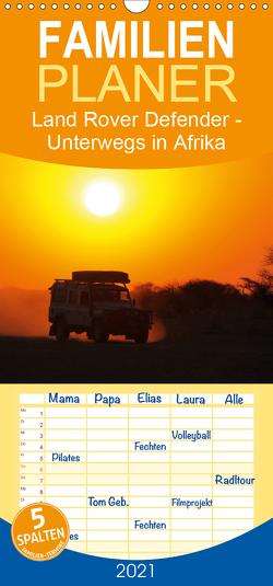 Land Rover Defender – Unterwegs in Afrika – Familienplaner hoch (Wandkalender 2021 , 21 cm x 45 cm, hoch) von Sander,  Stefan