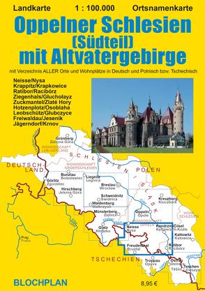Landkarte Oppelner Schlesien (Südteil) mit Altvatergebirge von Bloch,  Dirk