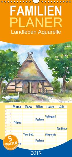 Landleben Aquarelle – Familienplaner hoch (Wandkalender 2019 , 21 cm x 45 cm, hoch) von Krause,  Jitka