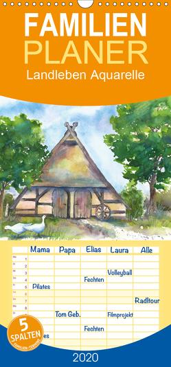 Landleben Aquarelle – Familienplaner hoch (Wandkalender 2020 , 21 cm x 45 cm, hoch) von Krause,  Jitka