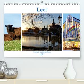 Leer – Ostfriesische Impressionen 2021 (Premium, hochwertiger DIN A2 Wandkalender 2021, Kunstdruck in Hochglanz) von Hebgen,  Peter