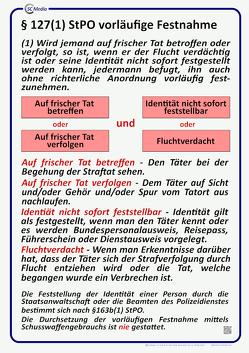 Lehrtafel § 127(1) StPO vorläufige Festnahme von Hahn,  Marco, Hohl,  Helmut