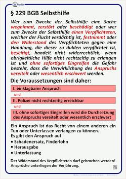 Lehrtafel § 229 BGB Selbsthilfe von Hahn,  Marco, Hohl,  Helmut