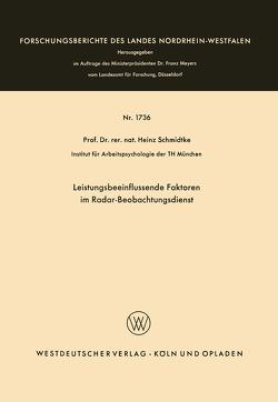 Leistungsbeeinflussende Faktoren im Radar-Beobachtungsdienst von Schmidtke,  Heinz