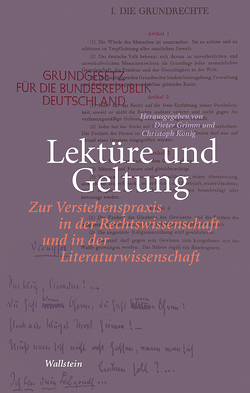 Lektüre und Geltung von Grimm,  Dieter, Koenig,  Christoph