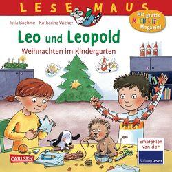 LESEMAUS 163: Leo und Leopold – Weihnachten im Kindergarten von Boehme,  Julia, Wieker,  Katharina