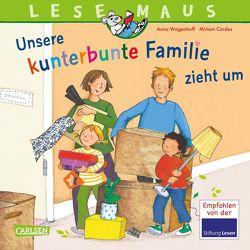 LESEMAUS 171: Unsere kunterbunte Familie zieht um von Cordes,  Miriam, Wagenhoff,  Anna