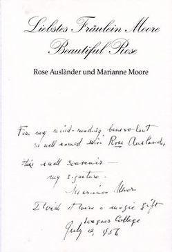 Liebstes Fräulein Moore – Beautiful Rose von Ausländer,  Rose, Bauer,  Matthias, Braun,  Helmut, Hesse,  Eva, Moore,  Marianne