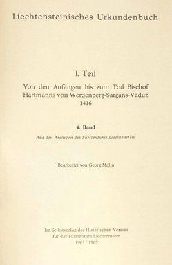 Liechtensteinisches Urkundenbuch von Malin,  Georg