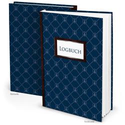 Logbuch kleine Anker Navy-blau für Segelyachten, Schiffe, Sportboote (Hardcover A4, Blankoseiten)