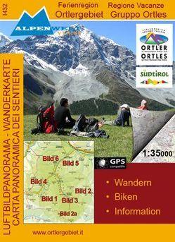 Luftbildpanorama & Wanderkarte Ferienregion Ortlergebiet /Regione Vacanze Gruppo Ortles