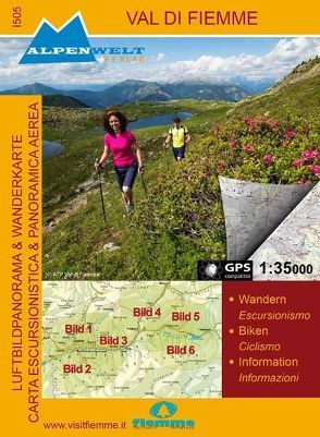 Luftbildpanorama Wanderkarte und topografische Wanderkarte – Val di Fiemme