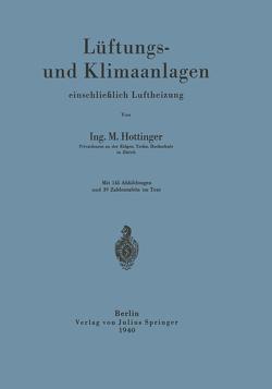 Lüftungs- und Klimaanlagen einschließlich Luftheizung von Hottinger,  M.
