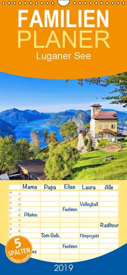 Luganer See – Zwischen Schweizer und Italienischen Alpen – Familienplaner hoch (Wandkalender 2019 , 21 cm x 45 cm, hoch) von LianeM