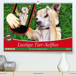 Lustige Tier-Selfies. Tierische Selbstportraits (Premium, hochwertiger DIN A2 Wandkalender 2021, Kunstdruck in Hochglanz) von Stanzer,  Elisabeth