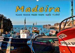 Madeira – blaues Wasser, grüne Berge, bunte Blumen (Wandkalender 2019 DIN A2 quer) von Roder,  Peter