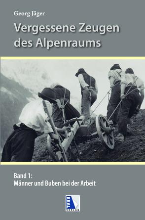 Männer und Buben bei der Arbeit in den Alpen von Jaeger,  Georg