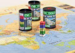 Magnetkugeln NEOBALLS Set 144-teilig grün-gelb-blau-rot, für Markierungen auf Landkarten