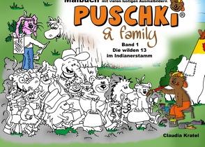 Malbuch zu  PUSCHKI & family von Kratel,  Claudia