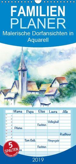 Malerische Dorfansichten in Aquarell – Familienplaner hoch (Wandkalender 2019 , 21 cm x 45 cm, hoch) von Krause,  Jitka