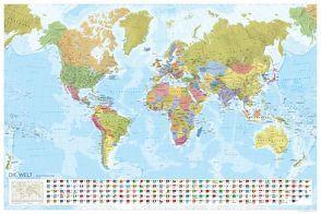 MARCO POLO Weltkarte – Staaten der Erde mit Flaggen 1:35 000 000, plano in Hülse