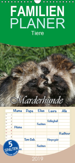 Marderhunde – Familienplaner hoch (Wandkalender 2019 , 21 cm x 45 cm, hoch) von Lindert-Rottke,  Antje