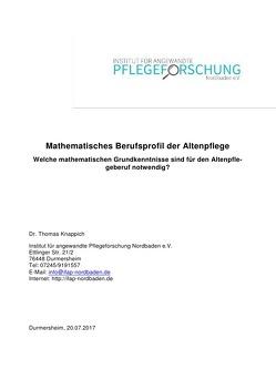 Mathematisches Berufsprofil der Altenpflege von Knappich,  Thomas