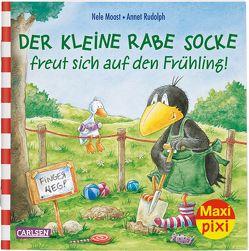 Maxi Pixi 290: Der kleine Rabe Socke freut sich auf den Frühling von Moost,  Nele, Rudolph,  Annet