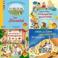 Maxi-Pixi-4er-Set 72: Mit Maxi Pixi im Kindergarten (4×1 Exemplar) von Abedi,  Isabel, Friedl,  Peter, Göhlich,  Susanne, Grimm,  Sandra, Hebrock,  Andrea, Leiber,  Lila L., Meyer - Lehmann - Schulze