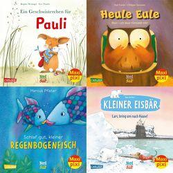 Maxi-Pixi-4er-Set 79: Bilderbuch-Stars bei Maxi Pixi (4×1 Exemplar) von de Beer,  Hans, Friester,  Paul, Goossens,  Philippe, Pfister,  Marcus, Tharlet,  Eve, Weninger,  Brigitte