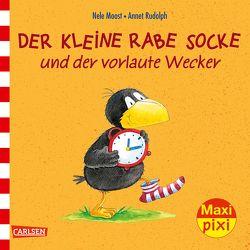 Maxi Pixi 231: Der kleine Rabe Socke und der vorlaute Wecker von Moost,  Nele, Rudolph,  Annet