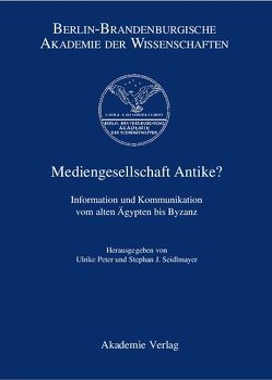 Mediengesellschaft Antike? von Peter,  Ulrike, Seidlmayer,  Stephan J