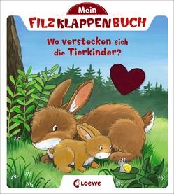 Mein Filzklappenbuch – Wo verstecken sich die Tierkinder? von Flad,  Antje
