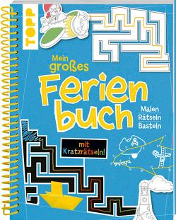 Mein großes Ferienbuch mit Kratzrätseln! (Blau) von frechverlag