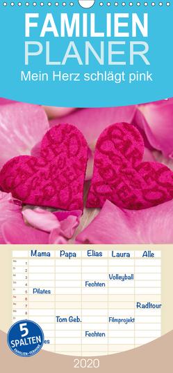 Mein Herz schlägt pink – Familienplaner hoch (Wandkalender 2020 , 21 cm x 45 cm, hoch) von Haase,  Andrea
