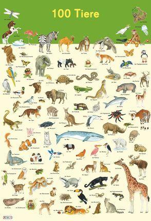 Mein Lernposter: 100 Tiere von Henkel,  Christine