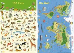 Mein Lernposter: 2er-Set 100 Tiere / Die Welt von Ahlgrimm,  Achim, Henkel,  Christine