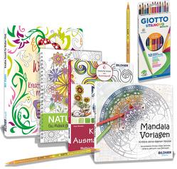 Mein Malset – 4 Malbücher mit 12 hochwertigen Duo-Farbstiften