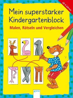Mein superstarker Kindergartenblock. Malen, Rätseln und Vergleichen von Barnhusen,  Friederike, Reese,  Viola, Roth,  Lena, Thabet,  Edith, Woernle,  Hela