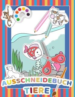 Mein tierisches Auschneidebuch und Bastelbuch für Kinder – Ausschneiden, Malen und Kleben – Schneiden lernen für Kinder – Auschneide-Buch und Malbuch in Einem von Vorschul Zauber