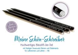 """Meine Schön-Schreiber – """"live – love – teach"""": Hochwertiges Bleistift-3er-Set, mit farbigen Swarovski-Steinen und Statements für Lehrerinnen und Lehrer, HB von Redaktionsteam Verlag an der Ruhr"""