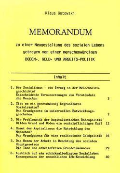 Memorandum von Gutowski,  Klaus