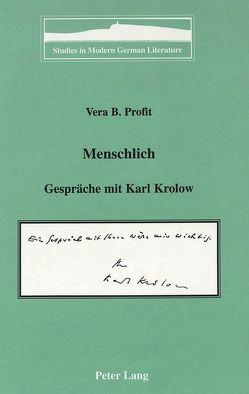 Menschlich von Profit,  Vera B.